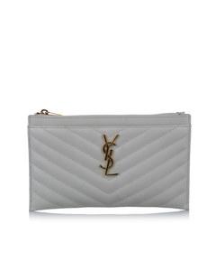 Ysl Monogram Bill Leather Pouch White