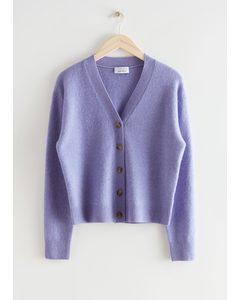 Wool Blend Knit Cardigan Lilac