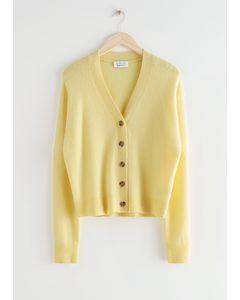 Wool Blend Knit Cardigan Yellow