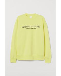 Sweatshirt aus Baumwolle Neongelb