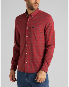 Slim Button Down Red Ochre