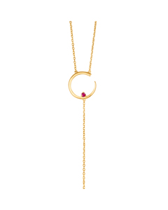 Irma Solitaire Necklace Ruby Gold