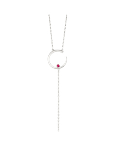 Irma Solitaire Necklace Ruby Silver