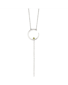 Irma Solitaire Necklace Peridot Silver