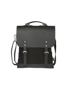 Messenger Tote Mini (leather Top) Black/black Leather