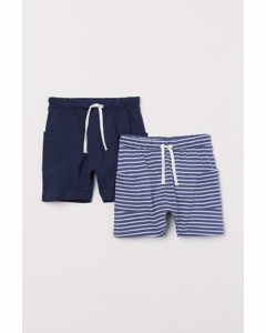 Set Van 2 Shorts Donkerblauw/gestreept