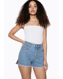 Raw Edge Denim Shorts Blue
