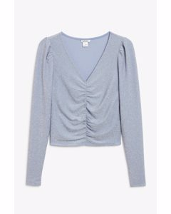 Ruched Long-sleeved Top Light Blue
