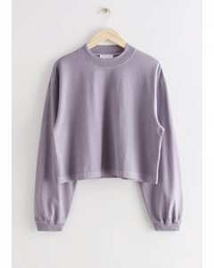 Cropped Boxy Cotton Sweater Lilac
