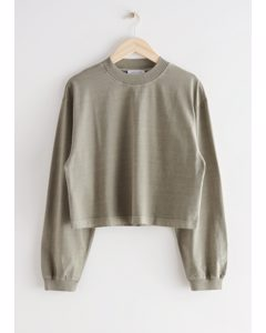 Cropped Boxy Cotton Sweater Beige