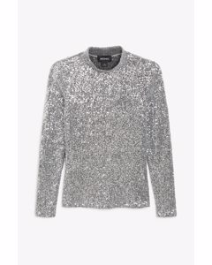 Long-sleeve Sequin Top Silver Sequins