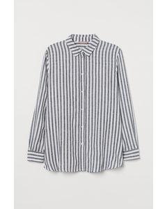 H&m+ Linnen Overhemdblouse Zwart/wit Gestreept