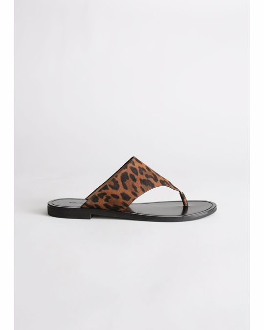& Other Stories T-Bar Strap Leather Sandals Leopard