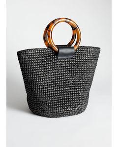 Vävd stråväska totebag-modell svart