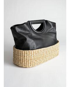 Deby Leder- und Strohsack in Einkaufstasche Modell schwarz