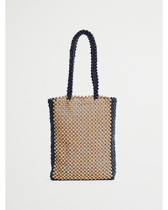 & Other Stories Wooden Beaded Tote Bag Brown