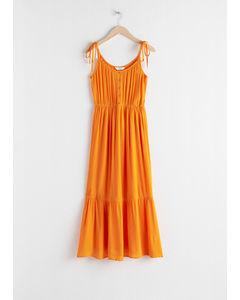 Ruffled Tie Shoulder Midi Dress Orange