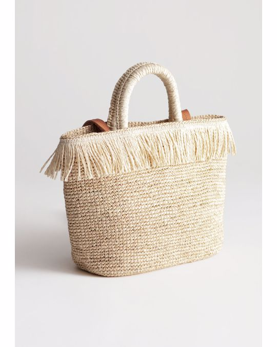 & Other Stories Embellished Woven Tote Beige