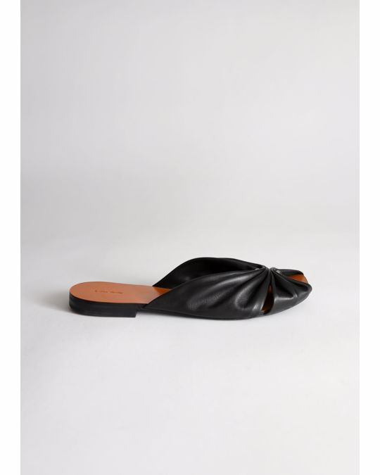 & Other Stories Square Toe Gathered Leather Sandals Black