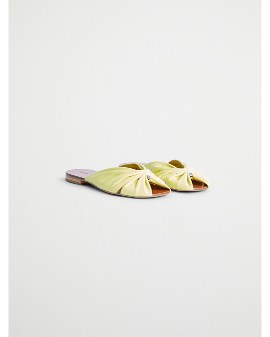 & Other Stories Square Toe Gathered Leather Sandals Yellow