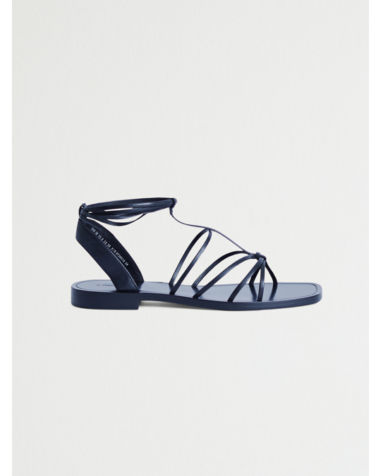 & Other Stories Knotted Leather Lace Up Sandals Black