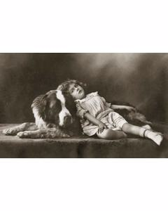 Girl With St. Bernhard's Dog