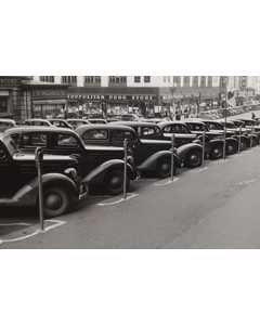 Cars Parked Diagonally Along Parking Meters. Omaha, Nebraska,1938