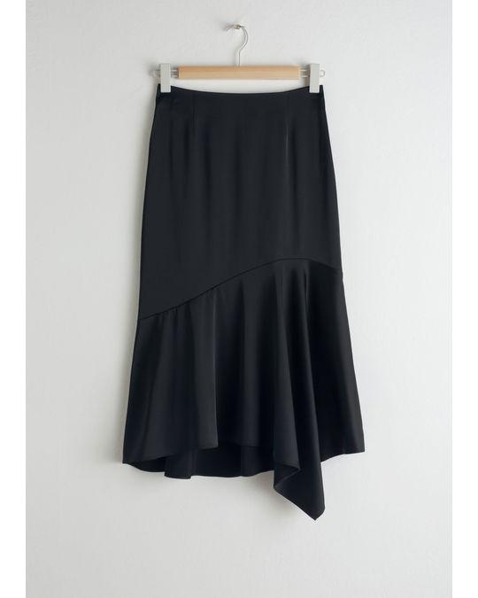 & Other Stories Satin Handkerchief Midi Skirt Black