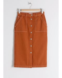 Kite midi rok jeans oranje