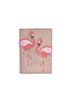 Flamingo Passport Holder In Multicolor Calfskin  Multi