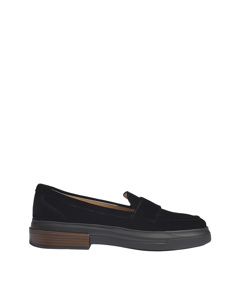Moccasins With Chunky Rubber Sole In Black Velvet Black