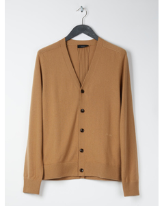 Cashmere V-neck Buttoned Cardigan Brown