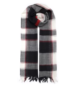 White, Black And Red Tartan Wool Scarf Multicolor White