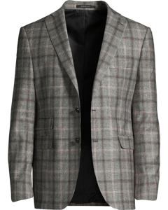 Checked Two-piece Suit In Virgin Wool Grey