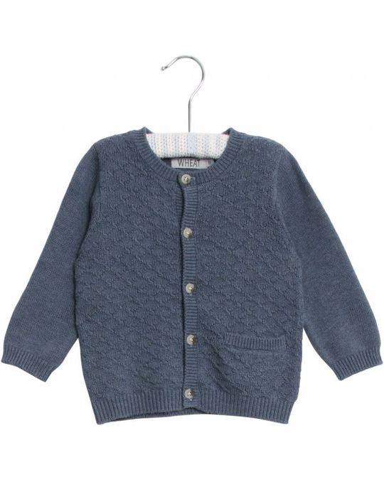 Wheat Knit Cardigan Ricardo 1303 Greyblue Melange