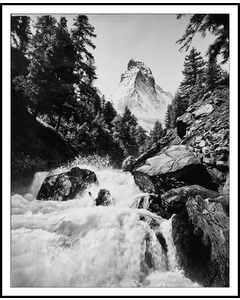 Rushing Stream And Matterhorn, Alps 1900