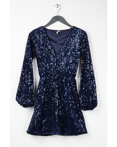 Perfect Velvet Sequins Dress Dark Blue