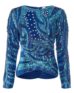 Smashing Embellished Blouse Blue