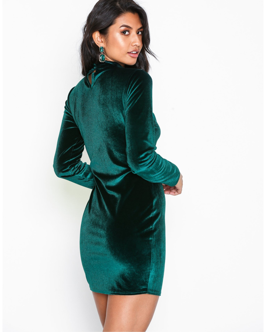 NLY by Nelly Velvet Polo Dress Green