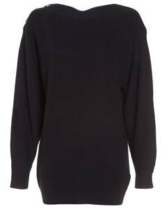 Shoulder Button Knit Black