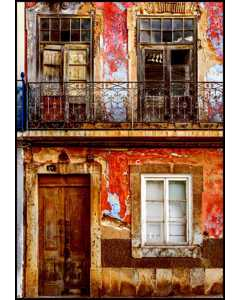 Old Worn Facade Of House In Portugal