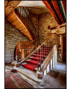 Beautiful Old Vintage Stairway With Lush Red Carpet