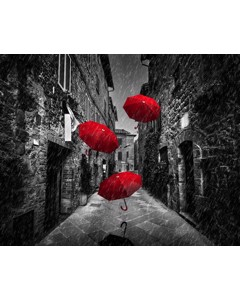 Röda Paraplyer I Svartvit Gränd