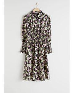 Smocked Plaid Midi Shirt Dress Black Print