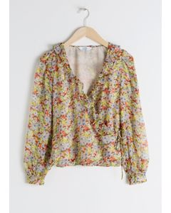 Sheer Floral Wrap Blouse Yellow