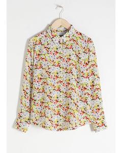 Rosella Seidenhemd mit Blumendruck Gelb