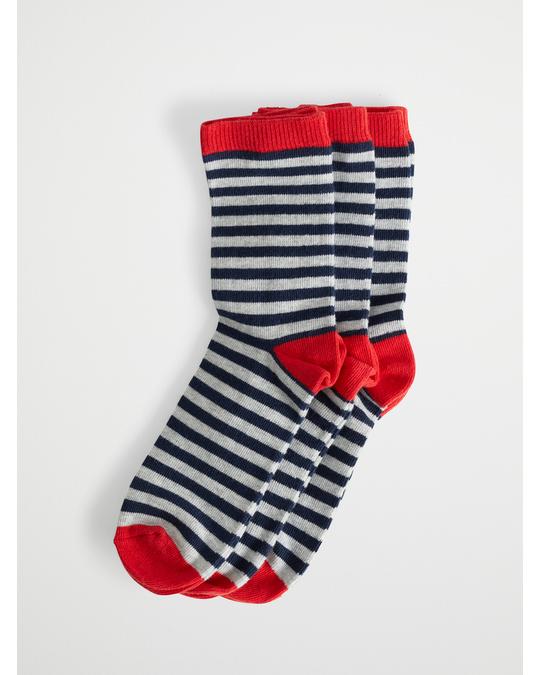 AFOUND OBJECTS Stripe Kids Socks 3-pack Red Navy L Grey