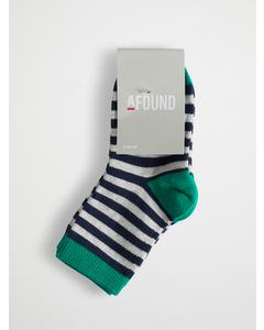 Stripe Kids Socks 3-pack Green Navy L Grey