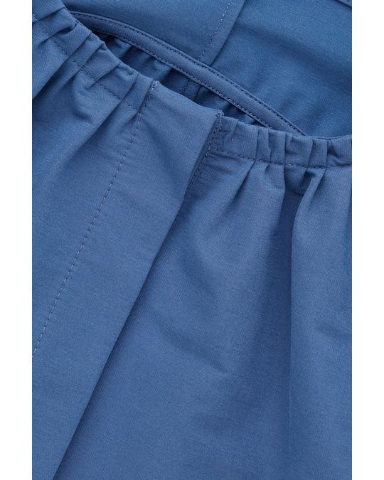 COS YOKE-DETAILED GATHERED DRESS Steel blue