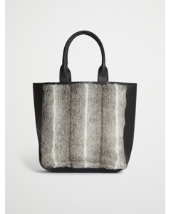 Faux Fur Large Tote Bag Black Spring Deer